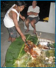 enjoying the lechon